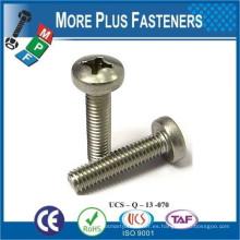 Hecho en Taiwán ISO 7045 Phillips Pan Head Machine Tornillo forma H Acero Zinc plateado