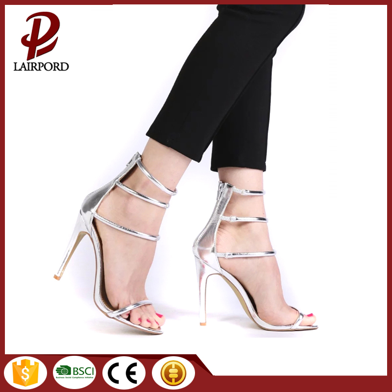 PU lace up high heel sandals 2017