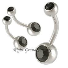 14G no cuelgan Jet gema CZ inicial anillos de ombligo