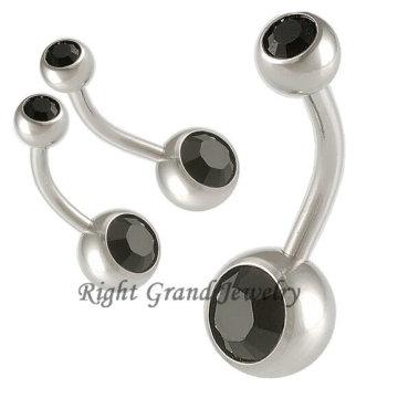 Anéis do umbigo da jóia da gema do CZ do jato de 14G não oscilam para fora