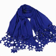 Nouveau modèle de haute qualité 27colors coupe floral mousseline de soie dentelle hijab châle écharpe en mousseline de soie dentelle hijab