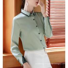 Professional Shirt Women Temperament Lace Patchwork Satin Chiffon Blouses Tops