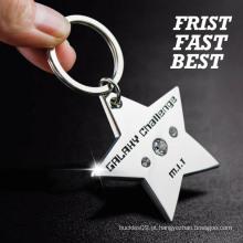 Keychain promocional por atacado, keychain de cristal bonito, keychain de prata da estrela