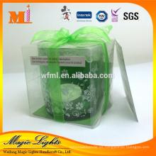 Vela de candelabro de regalo individual con soporte de vidrio de color