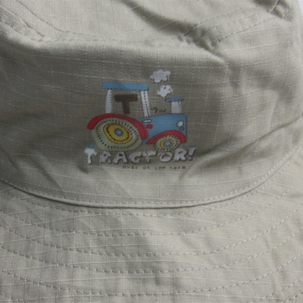 Boys Embroidery Cotton Wide Brim Bucket Hat
