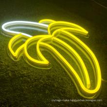 Decorative Flex fashion banana led neon logo signs For Bar Restaurant Store