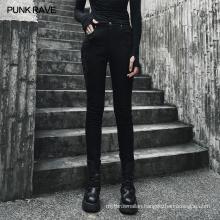 PUNK RAVE OPK-345NCF girls gothic plus size vintage party club black side lace slim demin jean