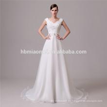 El último diseño de color blanco sexy con cordones pretina vestido de novia shenzhen con un tamaño más para el verano