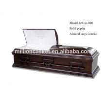Joyería de la fábrica china de ataúd judío de la cremación álamo sólida medida judía-006