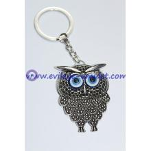 Owl Key Chain Handmade Evil Eye Silver Plated