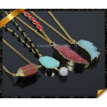 Wholesale New Quartz Crystal Necklace Women Natural Stone Pendant Druzy Drusy Necklaces (CN011)