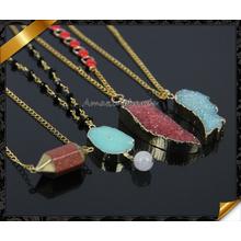 Wholesale New Quartz Crystal Necklace Women Natural Stone Pendant Druzy Drusy Necklaces (CN011)