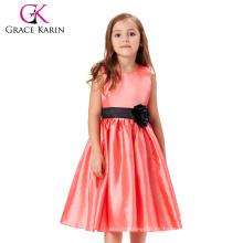 Grace Karin cuello redondo sin mangas flores rojas vestido de chica vestido de fiesta de los niños niñas vestido CL007554-1