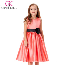 Grace Karin Sleeveless Crew Neck Red Flowers Girl Dress Pattern Party Children Girls Dress CL007554-1