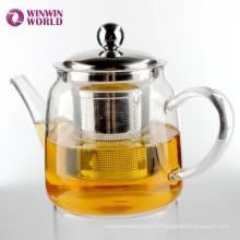 Pot de thé en verre de Borosilicate avancé moderne de produit de vente chaude avec l'infuseur