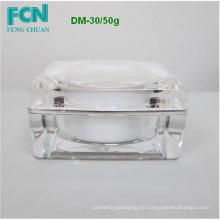 Moda cosméticos claro tapa de acrílico tienda de cuerpo 10ml tarro de crema plástico 50 ml Taiwán