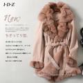 Chaqueta de piel y piel de esquila auténtica de New Design Lady con forro de piel de zorro de estilo largo