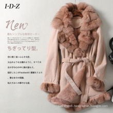 New Design Lady′s Genuine Shearing Leather and Fur Jacket Long Style Fox Fur