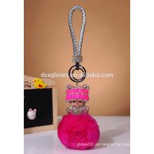 Rubbit Pelz Ball Kristall Monchhichi Schlüsselkette mit Hut Schlüssel Ring