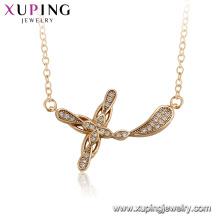 44542 xuping 18k banhado a ouro simples colar de pingente de cruz para senhoras