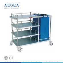AG-SS010B making up bed nursing trolley stainless steel mobile cart