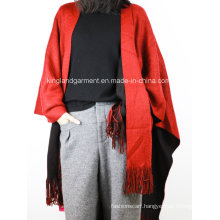 Acrylic Fashion Lady Winter Warm Red/Black Reversible Fringed Knitted Poncho
