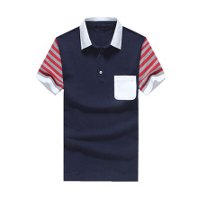 Men Polo Shirt with Contrast Color Collar and Cuffs Fashion Polo Shirt