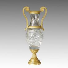Cristal Vase Estatua 2 Manijas Jardiniere Bronce Escultura Tpgp-023