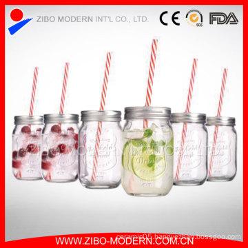 12oz 14oz 16oz 20oz 24oz Mason Jar Drinking Glass with Tin Lid Straw