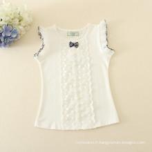 Un ensemble pièce en gros vêtements en pointillés jupe t-shirt blanc pour les enfants courte robe rose pointillée