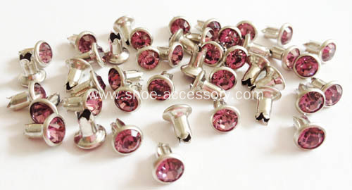 Split Rivet Embellished with Rose Glass Stone