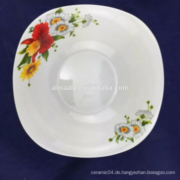 8-Zoll-feine Porzellan Salatschüssel quadratische Form