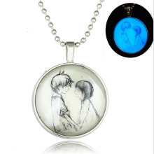 Charm In Zinc Alloy Lumioous Necklace Jewelry In Silver Plated Necklace