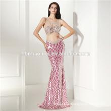 2017 Woman Summer Dress Ellie Saab Sexy Luxurious Mermaid Hi Neck Beaded Sequins Prom Evening Formal Gown Brand Dress