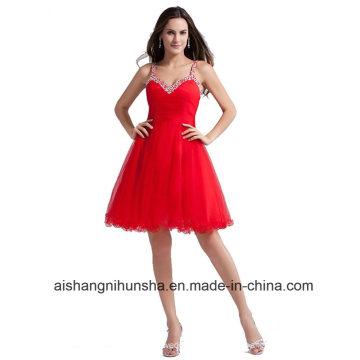 A-Line Homecoming Kleider mit Trägern Perlen Tüll Abendkleid