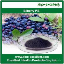 100% Extracto de mirtilo natural 15% 25% de antocianidina