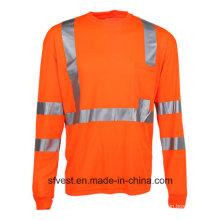 Защитная футболка с длинным рукавом с высокой видимостью рубашки Отражательная защитная одежда Hi Vis Workwear Dry Fit Fabric