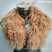 Long Pile Natural Mongolian Fur Scarf Eswj-49A