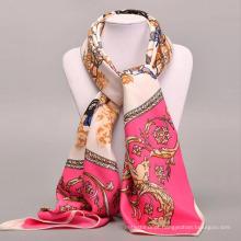 Moda estilo quente flor padrão fine craft mulheres macias neckcloth grande lenço quadrado
