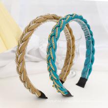 Bandeau fascia per capelli Designer Solid PU Leather Braid Metal Chain Headband Korean Hairband for Women Girl Fashion Hair
