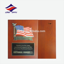USA national flag rectangle shape wooden award plaque