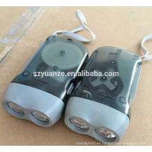 2 LED de plástico de mano presionando linterna recargable Dynamo Linterna