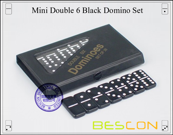 Mini Double 6 Black Domino Set