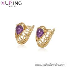 94697 Populaire mode dames bijoux irlandais style creux boucles d'oreilles coeur forme coloré pierres précieuses boucles d'oreilles créoles