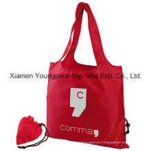 Red Promotional Custom Foldable Reusable 190t Polyester Shopper Tote Bag