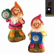 Hand Painted Dwarf with Solar Light Garden Gnome Decoration