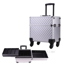 Travel hard makeup case on wheels