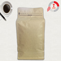 250g brown paper square bottom bag with valve or zipper