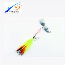 SPL032 дешевые рыболовные снасти spinner лезвия рыболовные приманки с двумя крючками