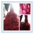 Vestido de casamento da sereia da saia da babosa vermelha do Organza do vinho de Arriva novo (WDS-1025)